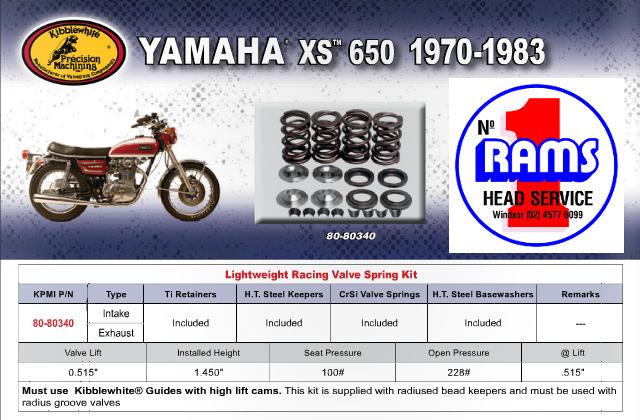 kibblewhite yamaha xs650 1970 1983 spring kit 80 80340 rams head